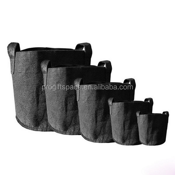China factory new best selling products many sizes of the foldable polyester grow pots wool felt plant bag with handle for herbs