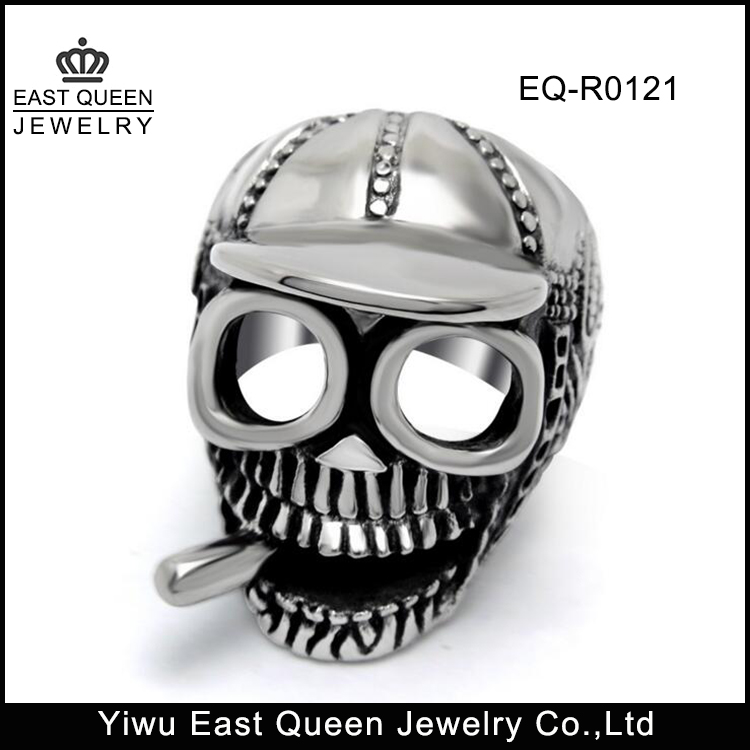 Personalized Stainless Steel Men's skull Head Rings