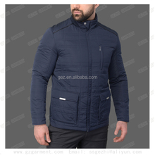 men navy blue zipper winter padded jacket