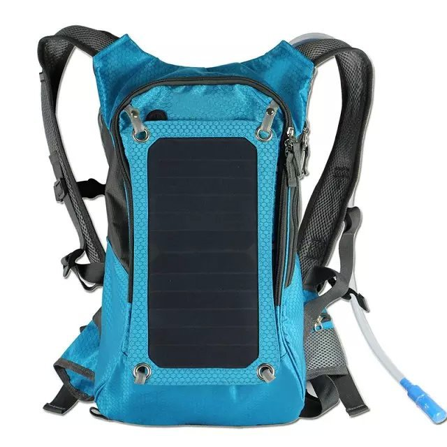 Waterproof Cycling Solar Charger Backpack With Power Bank And Hydration Water Bladder Pack