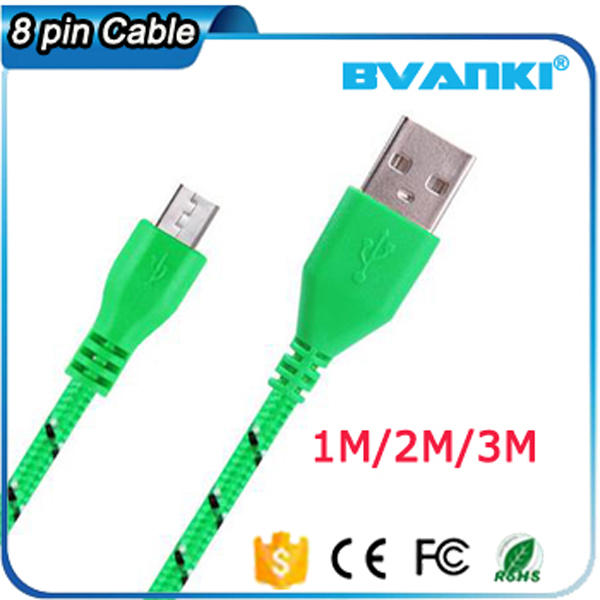 Brand Name Mobile Accessories 8 Pin Nylon USB Cable For iPhone 6 Fabric Braided Charger USB Cable