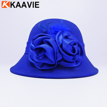 Party Show Formal Dress Wearing Blue Elegant Wool Felt Fashion Women's Bowler Hats