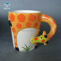 Eco friendly lovely giraffe ceramic children use animal handle mug