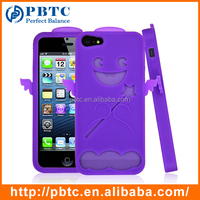 Set Screen Protector And Case For Iphone 5 , Purple Angel Silicon Rubber Case