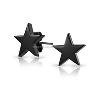 Cheap Sale Black Stainless Steel Stud Star Earrings for Women Simple Designs Jewelry