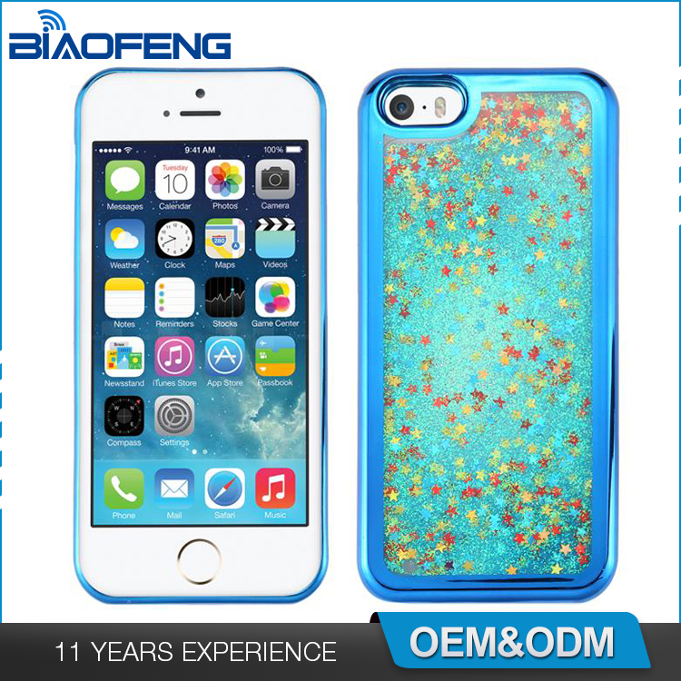Cool Smartphone Accessories Quicksand Liquid Glitter Cover Plating Tpu Skin Oem Cell Phone Case For Iphone 5S Plus