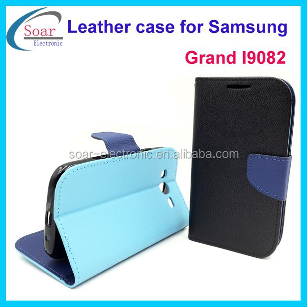 New arrival wallet leather flip case for samsung galaxy grand duos i9082 with card slot