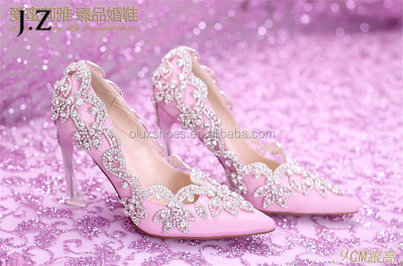 OW22 Crystal Pointed Toe Gorgeous Hot-Glitter Wedding Dancing Shoes for women