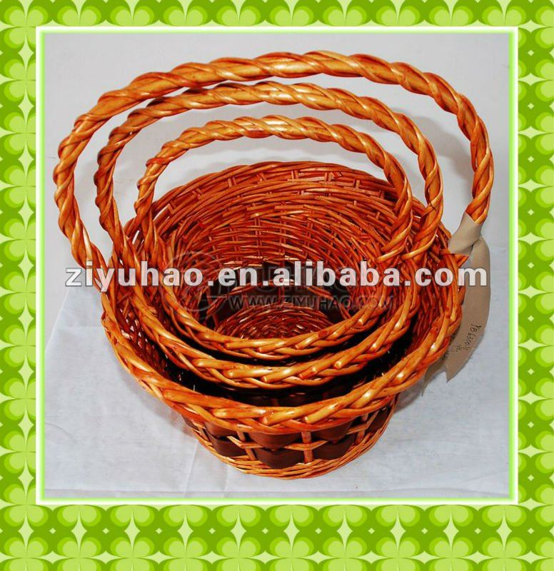 Hot sell and cheapest hand-weaven red wicker Christmas gift basket with handle