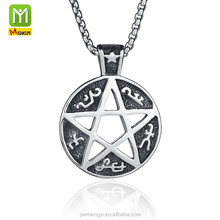 punk fine gothic stainless steel jewelry accessories supplies five star totem Satan pendant necklace