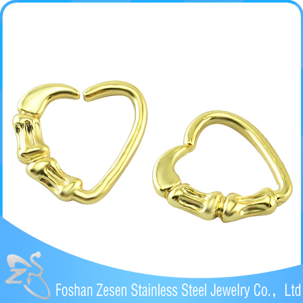 Gold Heart Shaped Slave Nipple Nose Ring Fake Industrial Piercing Jewelry