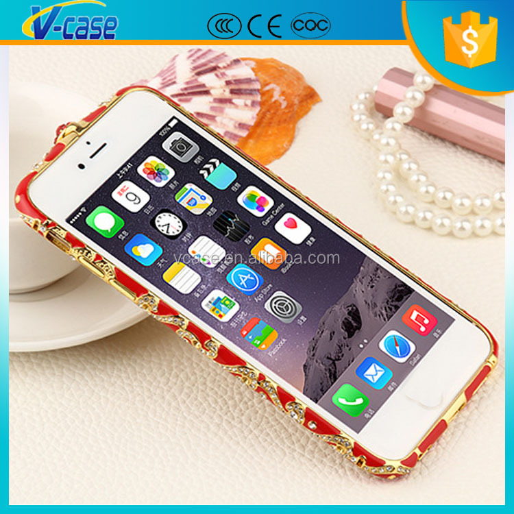 Bling Elegant Crystal Diamond Element Metal Bumper Case For iPhone 4 4S 5 5S