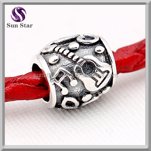 2016 latest new design silver guitar bead gift oxidized musical instrument charms
