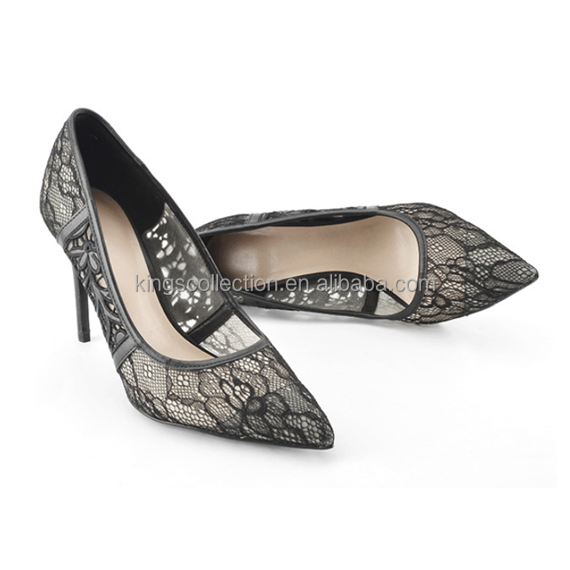 Low MOQ High Quality high heel ladies fashion party work Black color shoes