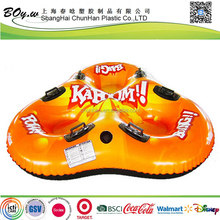 ICTI factory winter outdoor sports toys cold-resistant full cover printing orange 3 person pvc inflatable triple snow sledge