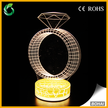 Custom diamond ring 3d night light table led night lamp for gift