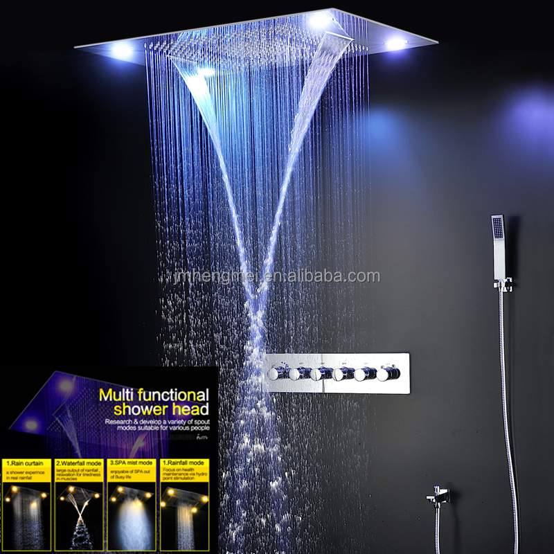 Elegant Ceiling Big Rain Shower Head Waterfall,Mist Shower Set Bathroom Shower  Faucets High Flow Thermostatic 5 Way Diverter Bath   Buy Ceiling Big Rain,Mist  Shower ...