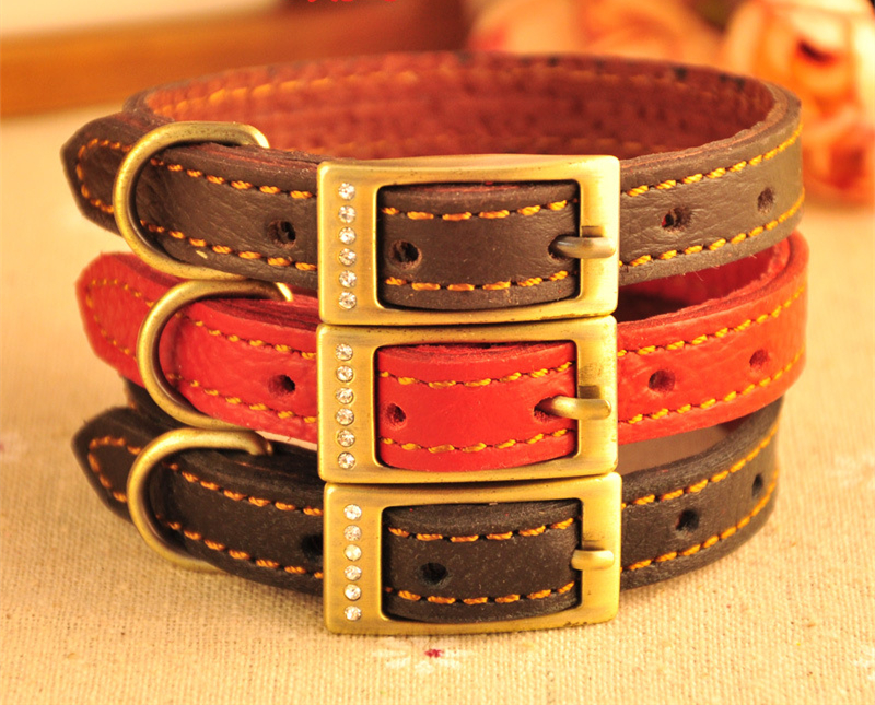 2016 Genuine leather Diamond Inlaied dog collar, dog collar leather with metal button, hunting dog collar leather