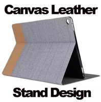 New Design Stand Canvas Leather case for Ipad Air,New Style Flip Cover Case for Ipad air