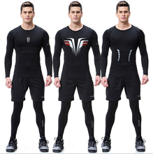 new fitness men gym clothes set workout running pants sports leggings long sleeve t shirts men sport suit