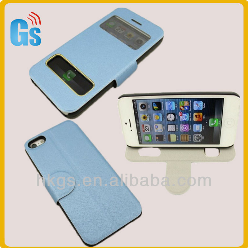 Double window slim leather case for iphone 5c accessories