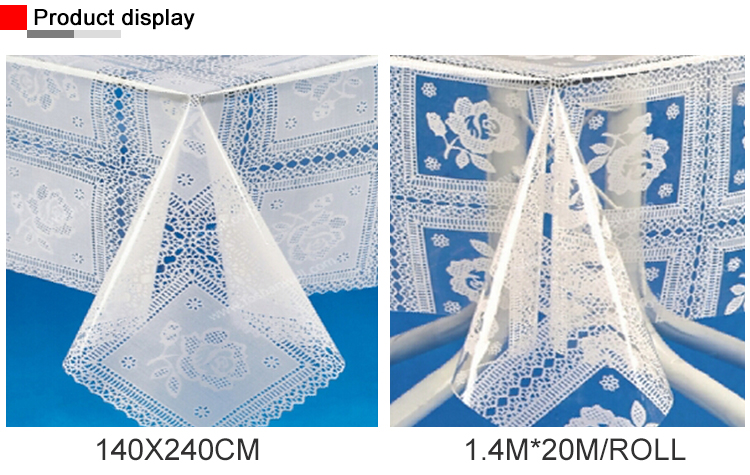Customized Flannel PVC Clear Plastic Tablecloth Rolls