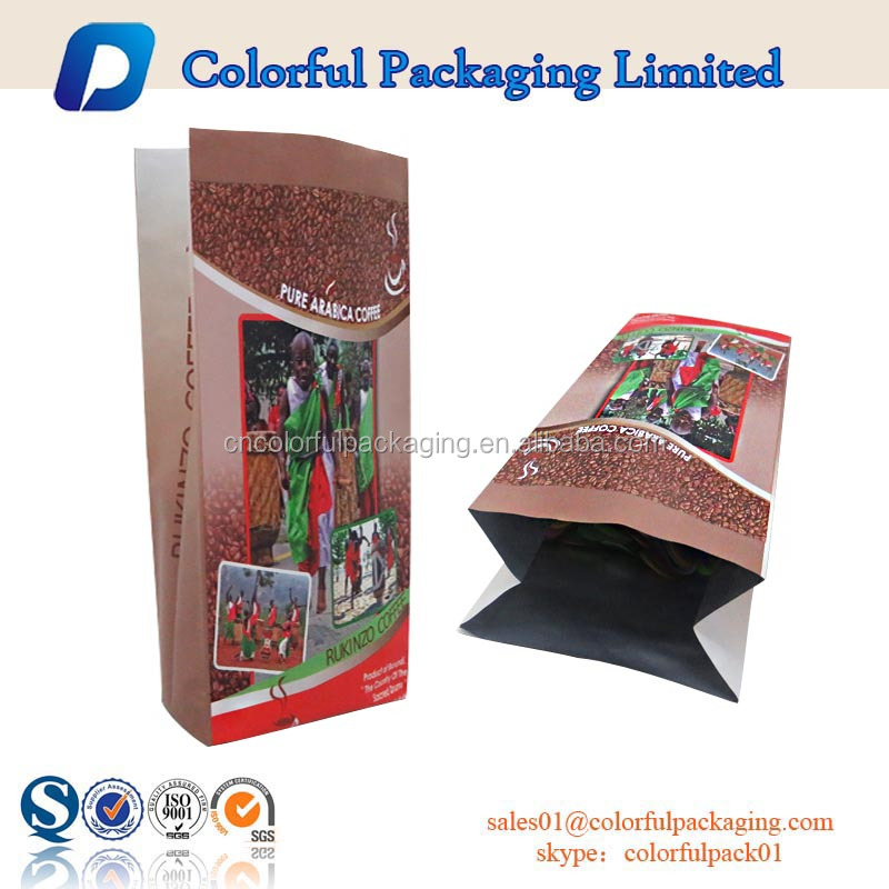 aluminum foil custom printed side gusset coffee sachet packaging bag valve