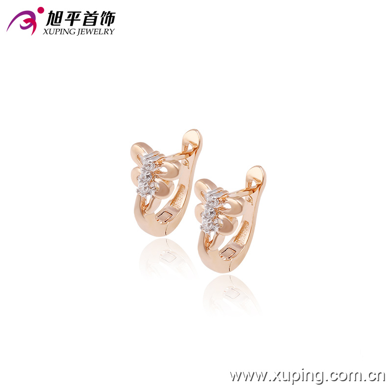 29997 New design Alloy gold plated butterfly fashion white stone huggie earrings