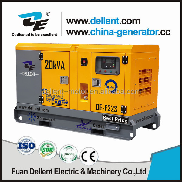 20kva diesel generator 50/60hz with 24hrs base fuel tank