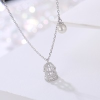 Exquisite 925 Silver Plated Diamond Simulated Pearl Cubic Zirconia Micro Paved Birdcage Shape Pendant Clavicle Necklace
