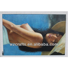 Handpainted Half-naked Girl Oil Painting Hot Sex Images