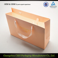 high end logo printed paper bag with hot laser stamp