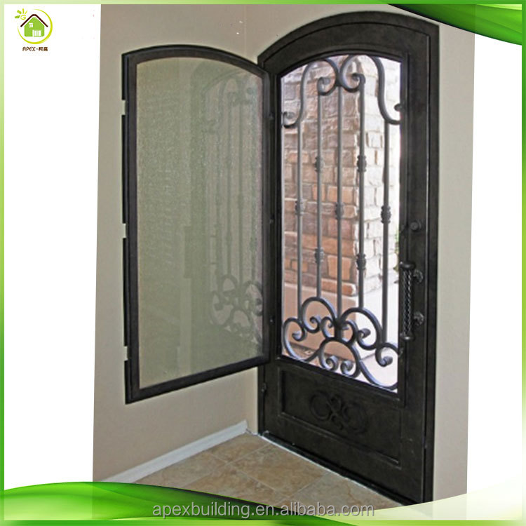 Traditional iron entry door safety door design with grill