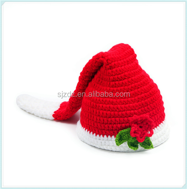 Wholesale high quality crochet baby santa claus hat knitted christmas infant hat