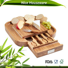 square bamboo cheese cutting chopping board with knives drawer