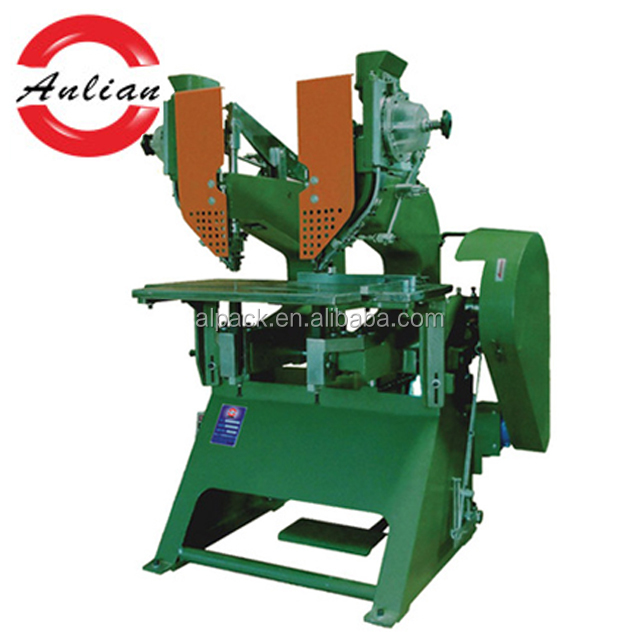 Automatic double riveting head eyelet punching machine