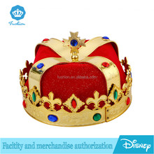 party birthday kids gold King crown hat with red liner costume for sale