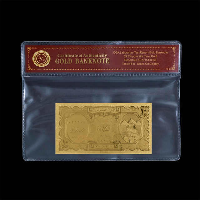 Saudi Arabia gold banknote 10 Riyal gold plated paper money with fram coa for home decor and collection