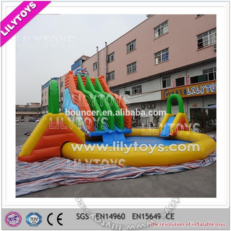 Rainbow inflatable water park, giant inflatable slide with large poll