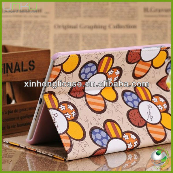 solar flower PU leather case for apple mini ipad case