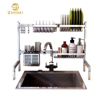 Custom Stainless Steel Standing Type Drying Kitchen Sink Rack Kitchen Storage <strong>Shelves</strong>