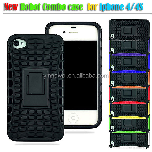 for iphone 4/4s 2 in 1 Tire pattern robot combo case with stand covers