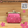 Wedding Party Gift Present Handmade Polyester Pink Mini Dot Metal Clip Lady Square Coin Cash Travel Purse Wallet