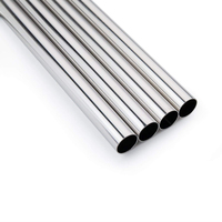 Set of 4 Stainless Steel Metal Straws Extra Wide 12mm Reusable Straws for Bubble Tea