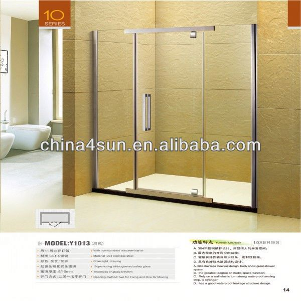 3C glass hinge door aluminium shower screen profile