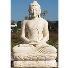 Competitive products meditating antique white marble stone laughing buddha statue for sale