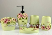 Noble 5pcs Carved Flower polyresin bathroom accessories set