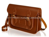 ANU London Satchel 11.5 inch - Traditional British Satchel Bags *Made in London, England* - Brown