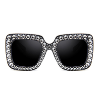 Luxury Diamond Square Sunglasses Women Brand Size Crystal Sun Glasses Ladies 2018 New Gradient Oculos Mirror Shades