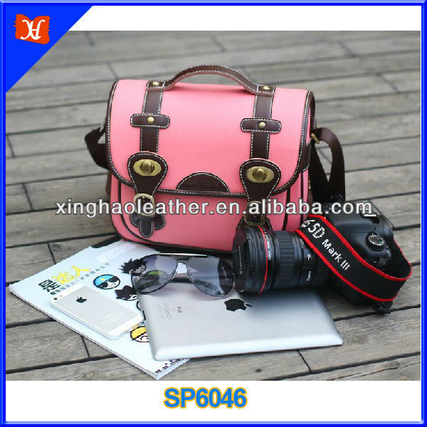 Fashion dslr camera bag for women, cute dslr camer bags, canvas trimmed with genuine leather pink dslr camera bags for ladies